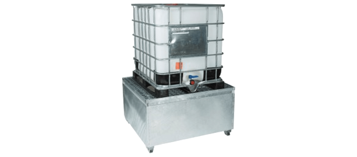 Metallic containment units for IBC
